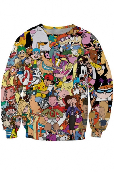 Funny 3D Cartoon Character Printed Round Neck Long Sleeve Pullover Sweatshirt