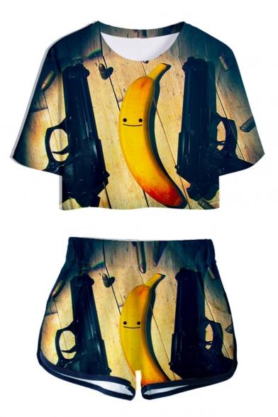 Funny Cartoon Banana 3D Print Short Sleeve Crop Tee with Loose Dolphin Shorts Two-Piece Set