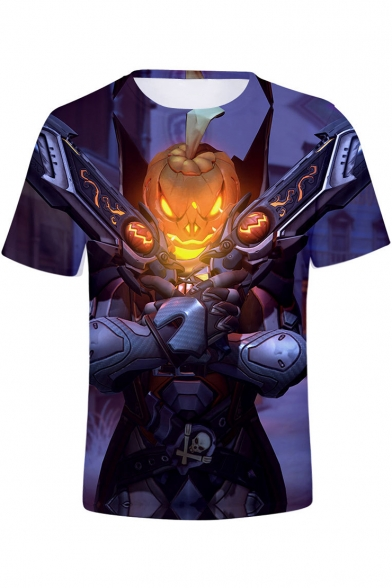 Funny Purple Comic Pumpkin Figure 3D Pattern Short Sleeve Fitted T-Shirt