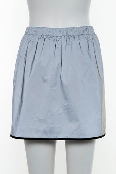 Girls Cool Street Fashion Contrast Piping Metallic Color Silver Mini Skorts Skirt