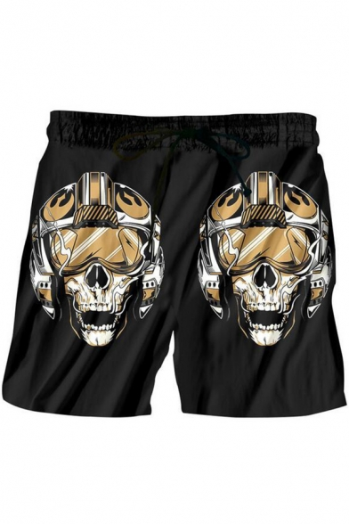 Hot Fashion Cosplay Skull Printed Black Quick-Drying Beach Swim Trunks