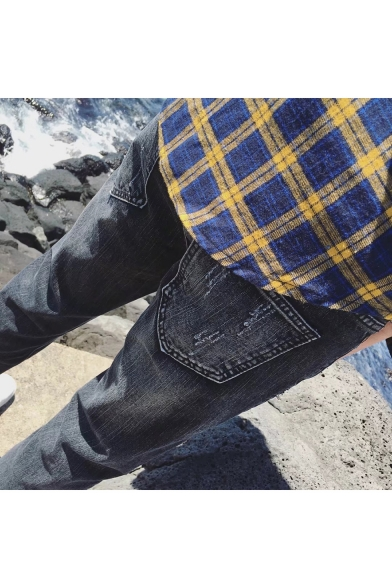 Men's Fashion Rolled Cuffs Black Casual Ripped Tapered Jeans