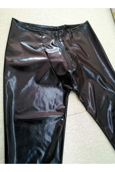 Men's Fashion Solid Color Sexy Black Zip-fly Skinny Leather Pants