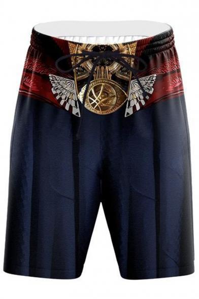 Men's Hot Fashion Popular Cosplay Spider Printed Drawstring Waist Casual Shorts