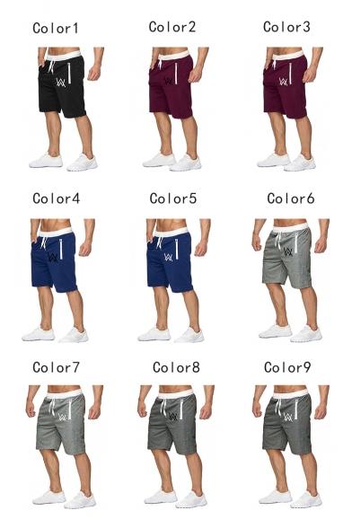 Men's Summer Fashion Letter W Logo Printed Zipped Pocket Drawstring Waist Casual Sports Sweat Shorts
