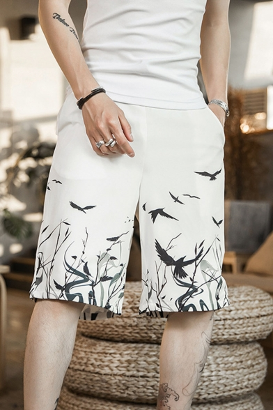 Men's Summer New Fashion Chinese Style Floral Bird Printing Casual Relaxed Shorts
