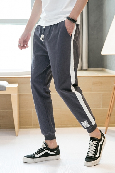 Men's Summer New Fashion Colorblock Patched Side Drawstring Waist Linen Casual Tapered Pants