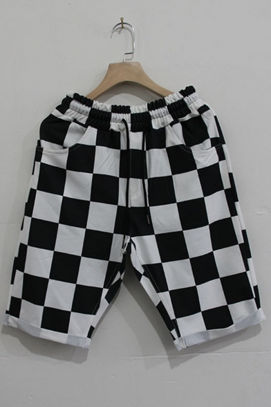 Men's Summer Stylish Colorblock Black and White Stripes Pattern Drawstring Waist Outdoor Running Sweat Shorts