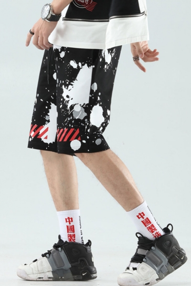 Men's Summer Trendy Diagonal Stripes Polka Dot Printed Drawstring Waist Black Cotton Sweat Shorts