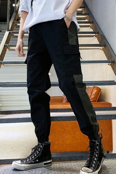 New Trendy Colorblock Tape Patch Flap Pocket Drawstring Waist Elastic Cuffs Cotton Cargo Pants for Men