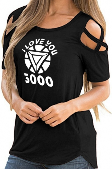 Popular Letter I LOVE YOU 3000 Round Neck Hollow Short Sleeve Casual Tee