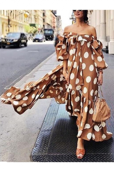 Summer Boutique Bow-Tied Off the Shoulder Puff Sleeve Classic Polka Dot Print Holiday Maxi Boho Dress