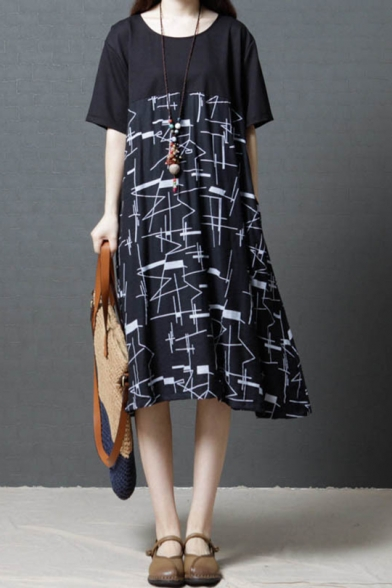 Summer Chic Unique Geometric Print Round Neck Short Sleeve Midi Casual Swing Dress