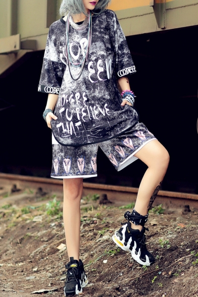 Summer Cool Girls Hip Hop Style Loose Straight Fit Shorts, LM549026