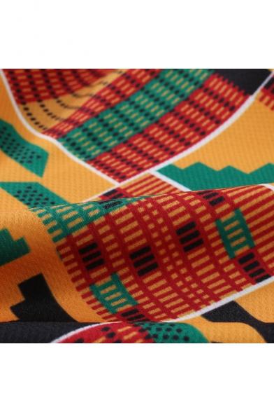 Summer Fashion Africa Printed Drawstring Waist Brown Casual Loose Beach Shorts Swim Trunks