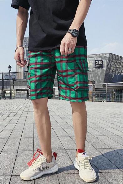 Summer Fashion Contrast Plaid Pattern Elastic Waist Casual Loose Cargo Shorts
