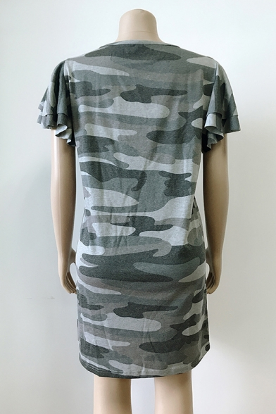 Summer Trendy Army Green Camo Printed Round Neck Mini T-Shirt Dress