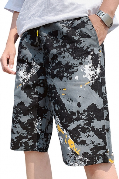 Summer Trendy Camouflage Printed Flap Pocket Side Loose Fit Casual Cargo Shorts