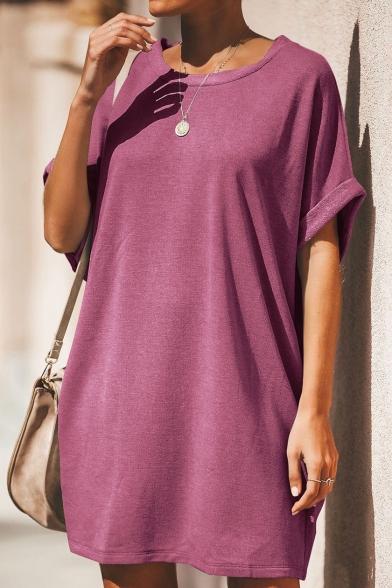 Summer Womens Casual Loose Basic Round Neck Short Sleeve Plain Mini T-Shirt Dress