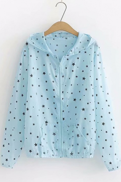 Trendy Allover Star Pattern Hooded Zip Up Sun Protection Lightweight Jacket Coat