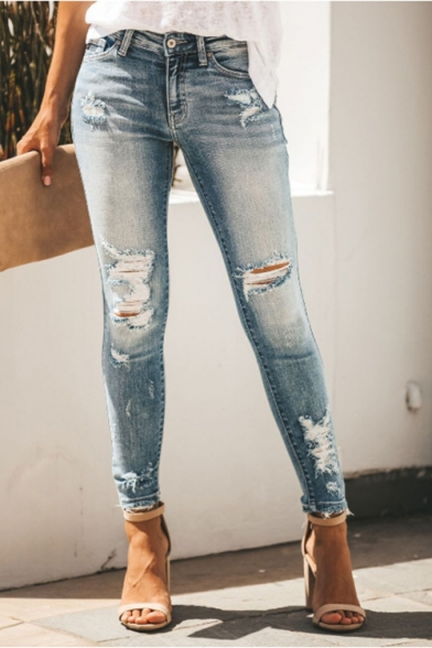 Trendy Mid Rise Distressed Ripped Skinny Fitted Denim Jeans for Women
