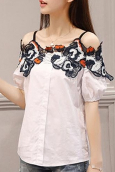 Trendy Womens Cold Shoulder Floral Embroidered Hollow Out Button Front Short Sleeve Casual Loose Blouse