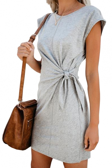 Womens Basic Simple Plain Round Neck Short Sleeve Tied Waist Mini Sheath T-Shirt Dress, Black;blue;burgundy;green;gray, LC544001