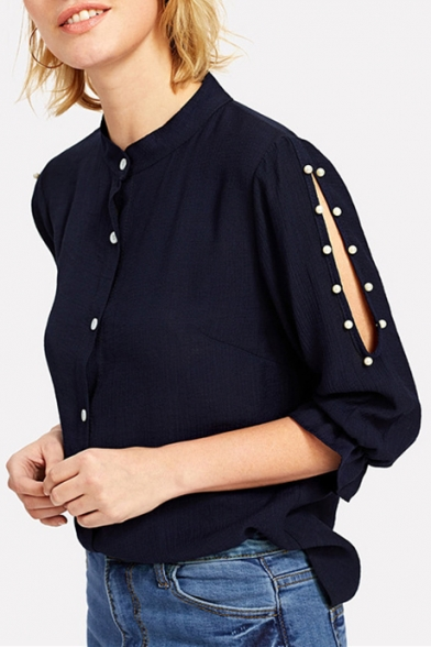 Womens Chic Beading Embellished Hollow Sleeve Plain Button Down Shirt Blouse