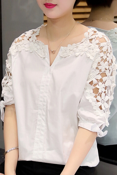 Womens Chic Fashion Hollow Out Lace Patched V-Neck Simple Plain Casual Blouse