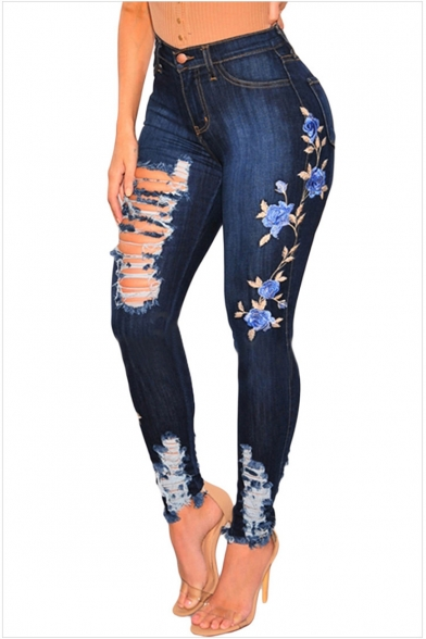 authentic special sales good Womens Chic Floral Embroidery High Waist Destroyed Ripped Raw Hem Dark