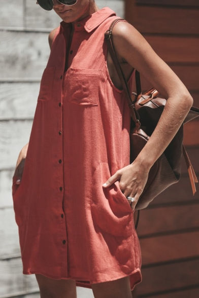 Womens Chic Plain Sleeveless Button Down Mini Casual Shirt Dress
