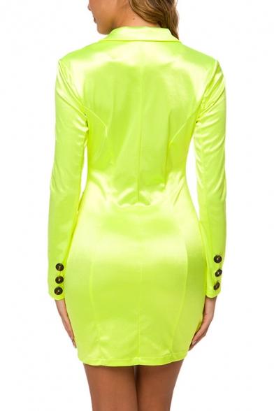Womens Cool Flourescent Color Simple Plain Long Sleeve Notched Lapel Collar Button Down Mini Bodycon Blazer Dress