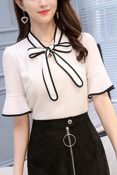 Womens Fancy Contrast Trim Bow-Tied Collar Flared Sleeve Chiffon Blouse
