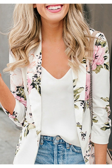 Womens Fancy White Floral Printed Long Sleeve Lapel Collar Fitted Blazer Coat