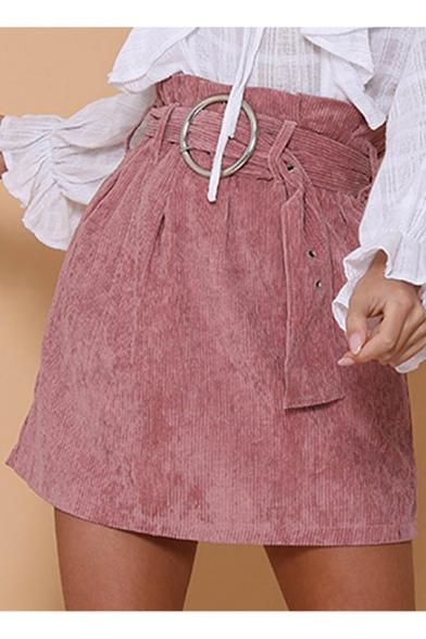 Womens Fashion Paperbag High Waist Belt- Tie Pink Corduroy A-Line Mini Skirt