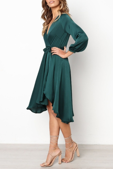 Womens Graceful Simple Plain Long Sleeve Surplice V-Neck Tied Waist Midi A-Line Flared Dress