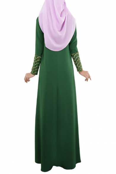 Womens Hot Fashion Long Sleeve Ethnic Style Lace Patch Maxi A-Line Floor Length Muslim Robe Dress