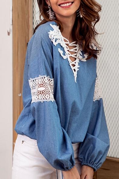 Womens Hot Stylish Blue V Neck Lace Patch Crochet Elastic Long Sleeve Crisscross Neck Tie-Front Blouse