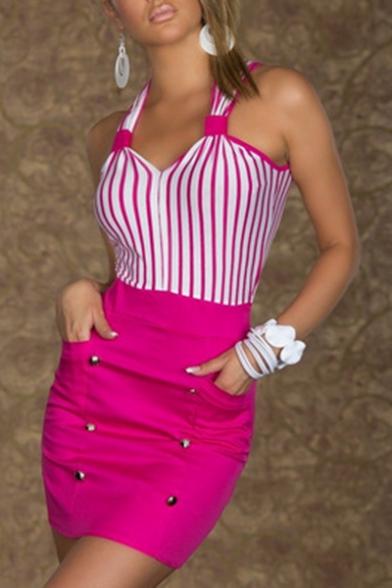 Womens New Stylish Striped Patchwork V-Neck Sleeveless Mini Bodycon Nightclub Dress