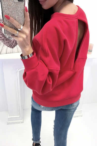 Womens Sexy Hollow Out Back Basic Round Neck Long Sleeve Plain Sweatshirt