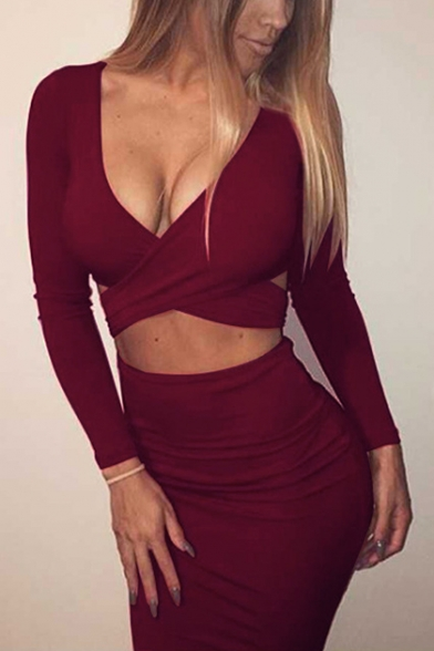 Womens Sexy Wrap V-Neck Long Sleeve Cutout Front Nightclub Mini Bodycon Dress