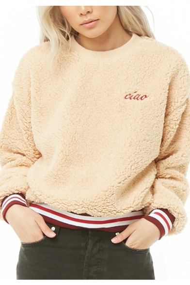 Womens Simple Letter CIAO Embroidery Striped Hem Round Neck Long Sleeve Apricot Fluffy Fleece Sweatshirt