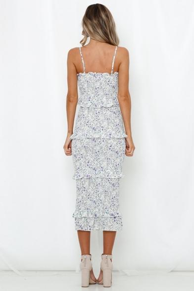 Womens Summer Fancy White Floral Printed Layer Ruffled Hem Maxi Bodycon Slip Dress
