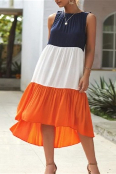 Womens Summer Popular Color Block Round Neck Sleeveless Midi Swing Tank Dress