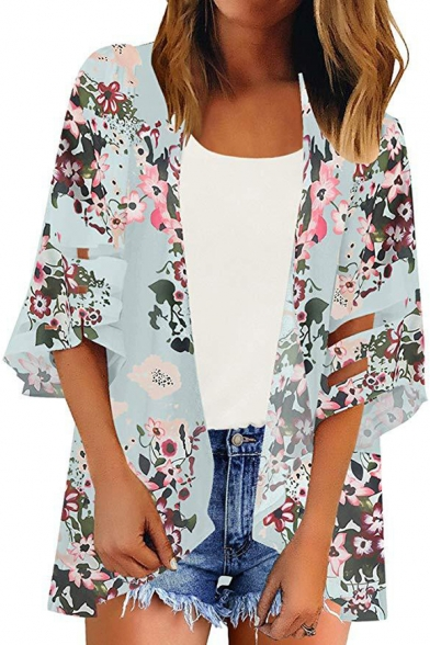 Womens Summer Popular Floral Pattern Mesh-Panel Sleeve Beach Kimono Blouse