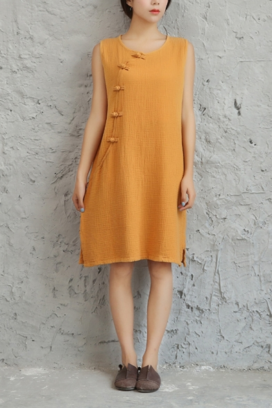 Womens Summer Vintage Chinese Style Frog Button Side Round Neck Sleeveless Midi Linen Tank Dress