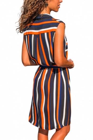 Womens Trendy Vertical Striped Printed Sleeveless Bow-Tied Waist Button Down Mini Casual Sheath Shirt Dress
