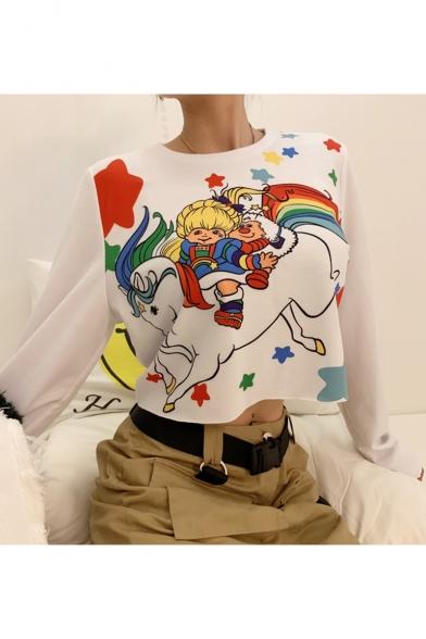 Cartoon Star Unicorn Printed Round Neck Long Sleeve White Cropped Sweatshirt