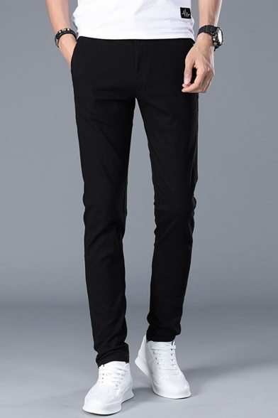Fashion Basic Simple Plain Slim Fitted Casual Cotton Dress Pants for Men