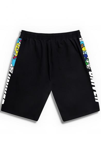 Fashion Letter Cartoon Printed Drawstring Waist Zip Pocket Black Casual Loose Sport Sweat Shorts